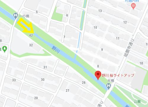 野川の桜_地図_一の橋下から東方面