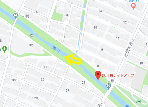野川の桜_地図_祇園寺通りから西方面