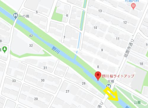 野川の桜_地図_大橋から東方面