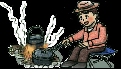 キャンプ焚き火イラスト