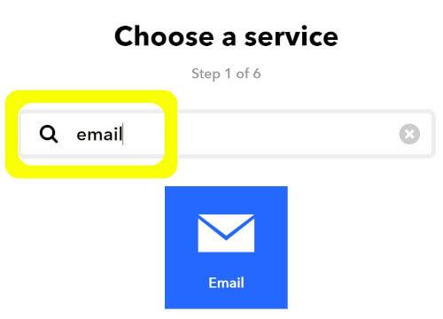 IFTTTのフロー作成でEmailサービスをトリガーに設定する