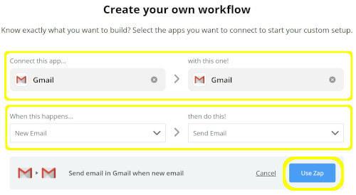 Zapierのワークフロー作成でGmailとの連携が完了