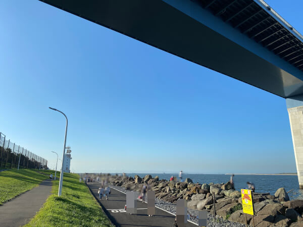 若洲海浜公園早朝の人工磯方面の様子