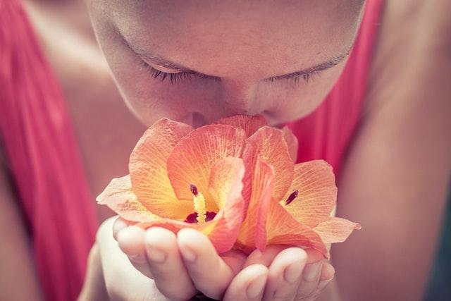 花のにおいを嗅ぐ